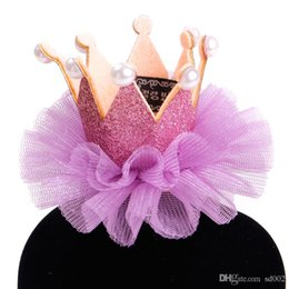 princess crown hair clips 2019 - Princess Crown Shape Lace Hairpin Hats Pearl Hair Clip Head Ornaments Pet Supplies Accessories Grooming For Dog Cat 4 59