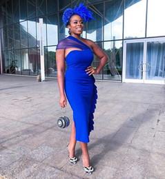 37f63a5ecc220f Royal Silks Australia - 2019 New Royal Blue Prom Dresses One Shoulder  Sheath Tea Length Split