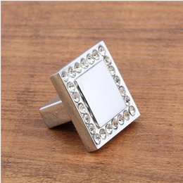 Crystal Pull Cabinet Handles Australia - 2018 new Square crystal single door knob cabinet handles kitchen crystal zinc alloy pulls furniture handles #388