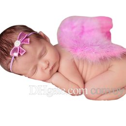 Angel Accessories online shopping - baby pink angel wings bow headband photo set Infant Cosplay costume photography props Newborn baby angel wings Hair Accessories BAW15