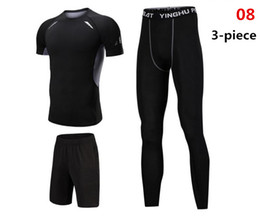 Chinese  Men's Sportswear Suit Compression Base Layer Fitness Sets Breathable Short Sleeve Shirt Trousers Black Tracksuit 3 Pieces manufacturers