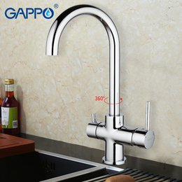 led kitchen faucet sink water NZ - wholesale 1set Deck Mounted Kitchen sink Faucet Double Handle Water Purification Function 360 Rotation restroom mixer G1052-8