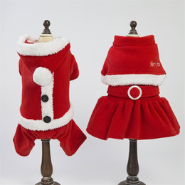 $enCountryForm.capitalKeyWord NZ - 5 Sizes Christmas dog costume transformed dress santa suit classic Euramerican pet dog warm Xmas clothes dog apparel decoration supplies