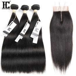 $enCountryForm.capitalKeyWord NZ - Unprocessed Brazilian Straight Human Hair 3 Bundles With Closure Brazilian Human Hair Weft With Lace Closure Silk Straight For Hair Salon