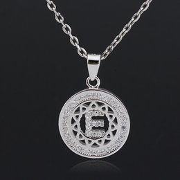 sterling silver alphabet letters NZ - 2018 New Fashion Silver English Alphabet Letter E Zircon Pendant Chain Necklace For Women