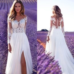 Discount front cover backless wedding dress - Milla Nova 2019 Long Sleeves Boho Lace Wedding Dresses Illusion Bodice Ivory Bridal Gowns Sexy Split Side Front Chiffon