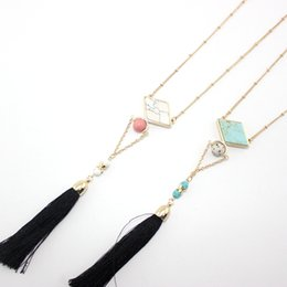 natural stone tassel necklaces UK - BOHO Natural Stone Pendant Tassel Necklace Rhomb Turquoise Druzy Quartz Crystal Gold Chain Necklace Geometric Women Jewelry