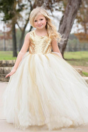 Dress For Babies First Birthday Australia - Gold Sequins Flower Girl Dresses for Wedding With Jewel Neck Tutu Birthday Baby Infant Toddler Pageant Dress First Communion Dresses