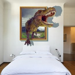 Chinese 3d Wall Stickers Australia - 3D Stickers Creative Dinosaur Wall Stickers Waterproof PVC Wallpapers Can Be Removable Bedroom Living Room Background Decoration