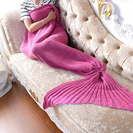 baby crochet mermaid tails NZ - Handmade Mermaid Blanket Mermaid Tail Blanket Knitted Sleeping bag TV Sofa Kids Adult Baby crocheted bag Bedding Throws bag
