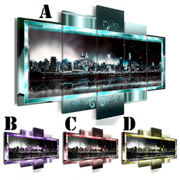 Oil art night landscape paintings online shopping - Wall Art Picture Printed Oil Painting on Canvas No Frame Multi picture Combination set Home Decor Landscape City Night Light
