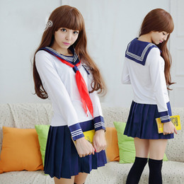 japanese sexy girls uniform 2019 - Girls Japanese School Uniforms for JK Sailor Short-sleeved T Shirt Preppy Style College Sexy Suit Skirt Female Cosplay C