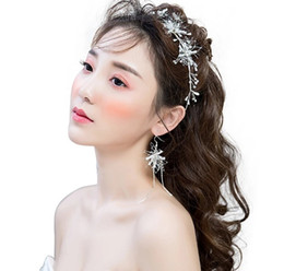 $enCountryForm.capitalKeyWord UK - Fairy white hair hoop long style earring three pieces of fashionable cortical bridal wedding dress accessories