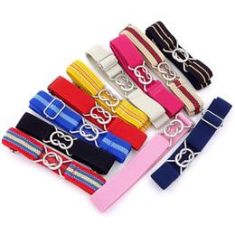 Elastic Boys Belts NZ - Fashion Candy Color Stripe 1 Inch Wide Kids Children Elastic Waist Belt For Boys Girls Alloy Waist Buckle Hot Sale 6hh aa