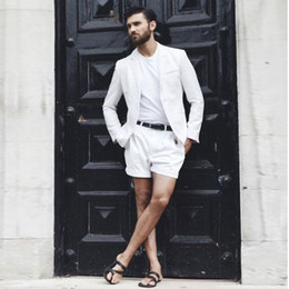 $enCountryForm.capitalKeyWord NZ - 2018 White Summer Beach Simple Men Suits with Short Pant Jacket Simple Loose Custom Made Wedding Suits Tuxedo 2Piece Casual Blazer Prom