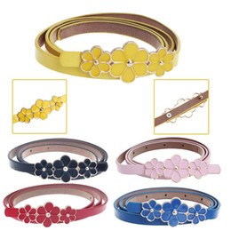 Yellow Flower For Belts Australia - Hot sale women leather flower belt automatic buckle women girl Candy Colour waistband For dress Shirt 30#1810022510