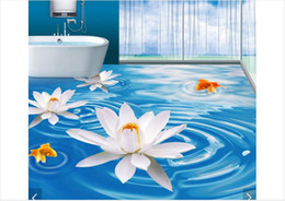 $enCountryForm.capitalKeyWord Australia - Self-adhesive Waterproof Flooring Wall Sticker Customized 3D wallpaper floor painting wall paper Blue White Lotus Goldfish Bathroom 3D Floor