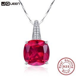 natural ruby stone jewelry Canada - Brand 925 Sterling Silver Jewelry Wholesale Vintage Hope of Love Rose Red Ruby Natural Stone Necklaces Pendants Best Friend Gift