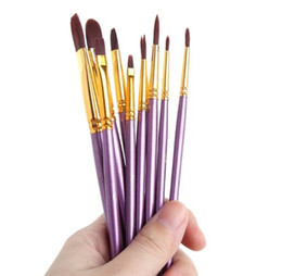 paint gouache Canada - Kids Student Watercolor Gouache Painting Pen Nylon Hair Wooden Handle Paint Brush Set Drawing Art Supplies 10Pcs bag