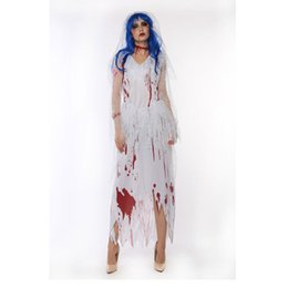 zombie woman costume 2019 - white Corpse Bride Vampire Witch Dress Halloween Costumes Cosplay For Woman Party Carnival Zombie costume w1876 cheap zo