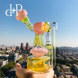 "$enCountryForm.capitalKeyWord Australia - Plus Glass Bong Water Pipe 022B Telescopic Triplex Unique Peachblow color heady art pipe with percolator 7"" Height 14mm Female"