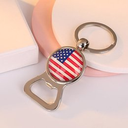 key beer opener NZ - Beer Bottle Opener Keychains Football Key rings with Flag Fans Souvenir Car Key holder Men Fashion Jewelry