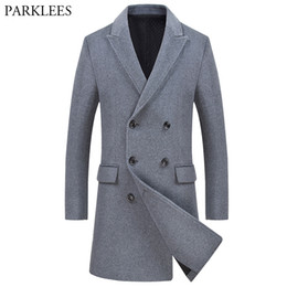 mens long double breasted overcoat Canada - Brand Double Breasted Pea Coat Men 2018 Winter Mens Cashmere Coat Slim Fit Wool & Blends Mens Trench Manteau Homme Overcoat