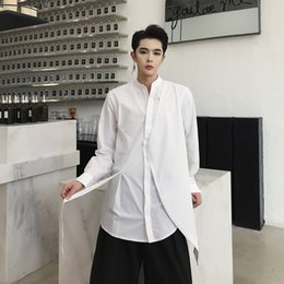 White Shirts Styles Designs For Men Canada - MIXCUBIC 2018 summer Korean style simple Asymmetry design Stand collar shirts men casual slim shirts for men,size M-XXL