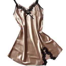 65329c1b87 Senhoras Sexy Vestido De Noite De Cetim De Seda Sem Mangas Camisolas Com  Decote Em V Camisola Plus Size Camisola Lace Sleepwear Nightwear Para As  Mulheres