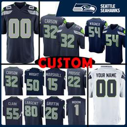 afffe2218 Custom Seattle Seahawks Jersey 54 Bobby Wagner 32 Ricky Watters 50 Seahawks  K.J. 45 Kenny Easley 32 Chris Carson 55 Frank Clark 22 Prosise