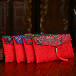 China vintage cloth red envelope bag wedding party supplies classic red envelope with tassels lucky red money envelope suppliers
