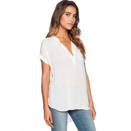 d0686970285 SHIBEVER Women Chiffon Blouse Shirts Casual Vintage Summer Solid Short  Sleeve Tops Fashion Boho V-Neck Plus Size Shirts ALD740