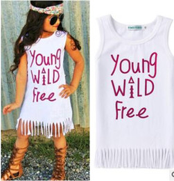 canvas prints free shipping NZ - Free shipping-2018 new girl skirt summer children's letter printed fringed vest dress
