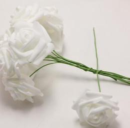 Stem packS online shopping - Wedding Party pack Marry DIY Crimping Decoration White Flower Wedding Bride Artificial Bouquet Home Foam Rose Flowers Stem Craft