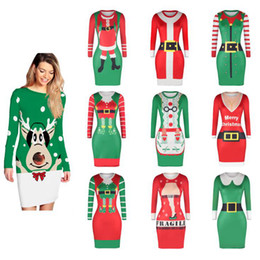 Wholesale clothing packs online shopping - Women Autumn Winter Long Sleeve Christmas Digital Printing Dress Casual Tight Pack Hip Dress Striped Bodycon Dresses Home Clothing OOA5719