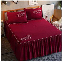 pink ruffle bedspread 2019 - 1 3pcs Ruffles Mattress Cover Romantic Princess Bed Skirt Bed Sheet Solid Color Bedspreads Flat Sheet Twin Queen King Si