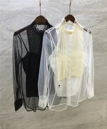 7f19ec1a32071 Biene Stickerei Mesh Kimono 2018 Frühling Sommer Runway Mode Stehkragen  Langarm Damen Blusen Neue Blusas Femme 2018