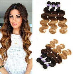$enCountryForm.capitalKeyWord Australia - Brazilian Colored Virgin Human Hair Weaves Body Wave Bundles Ombre Three Tone Brazilian 1B 4 27# Dark Brown Human Hair Extensions