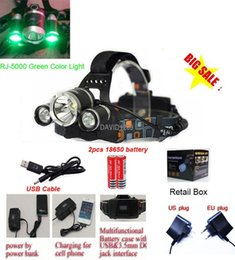 Xml T6 3x Headlamp Australia - 5000LM RJ-5000 3X CREE XML T6 4 Modes HeadLamp for light outdoor Sport Camping light with green color light
