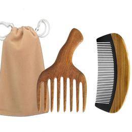 Paddle Picks online shopping - Afro Hair Pick ox Horn Wooden Pocket Travel Comb bag Brush Scalp Massage Hairbrush Men Beard Styling Christmas Valentine Business Gift