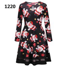 e6c65602035 14 Colors Autumn Winter Women Christmas Dress 2018 Plus Size Print Dress  Midi Elk Snowflake Long Sleeve A-Line Party Dress