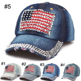 a5661b0a8f0 Women baseball caps Summer 4th of July American Flag Hat Cowboy Fashion  Rhinestone denim Cap 6 Panels Snapback Leisure Sun Hat