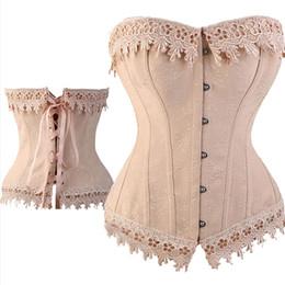 lace basque lingerie 2019 - Sexy Lace Up Boned Burlesque Corset Tops Cream Lace Trim Corset Busiter Basque Lingerie Underwear Plus Size S - 6XL chea