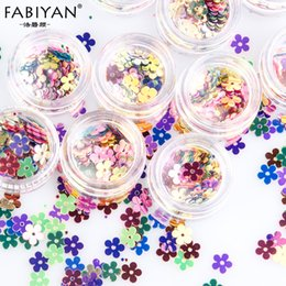 wholesale glitter pots Canada - 12 Pot Nail Art Mixed Flower Decoration Glitter Acrylic Sequin Craft Paillette Sewing Accessorie 3D Tip DIY Design UV Gel Polish