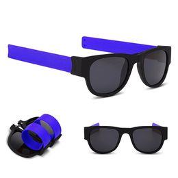 black mirror polarized sunglasses 2018 - Sun Glasses women Slap Sunglasses Men polarized Slappable Bracelet Wristband Fold Shades Fashion Mirror Oculos Colorful