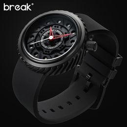 Men Sports Racing Watch Australia - BREAK Top Luxury Men Racing Motorcyle Sport Watches Rubber Strap Casual Fashion Passion Waterproof Geek Creative Gift Wristwatch