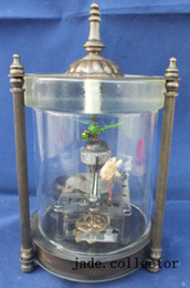 table clock mechanical Canada - Rare brass Dynamic fish and Dragonfly Mechanical Table Clock Decorations