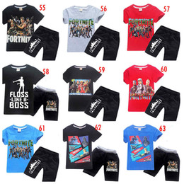 8ad3f68a929c Wholesale 81 styles Children fortnite outfits short sleeve T-shirt+pants  girl boy summer suit kids clothing DHL shipping free