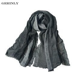 Wholesale Cotton Linen Scarves NZ - 2018 New Brand Winter Scarf Men's Cotton-Linen Scarves Warm Soft Stripe Crinkle Long Scarf with Tassel Bufandas for Male Unisex