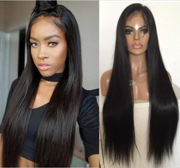 dark brown hair color celebrities Australia - Celebrity Wigs Full Lace Wig Brazilian Virgin Human Hair Straight 130 Density Natural Color Lace Front Wig for Black Woman Free Shipping